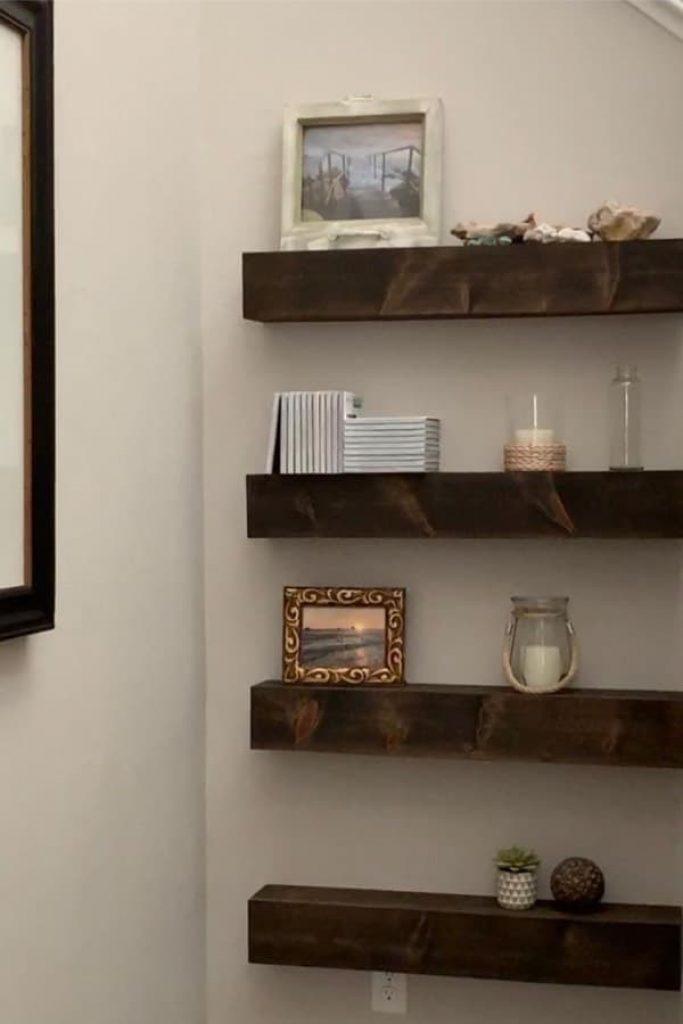 Dark Wood Hallway Floating Shelves