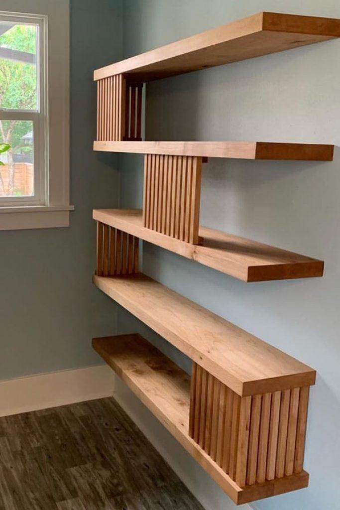 Unique Wooden Floating Shelves