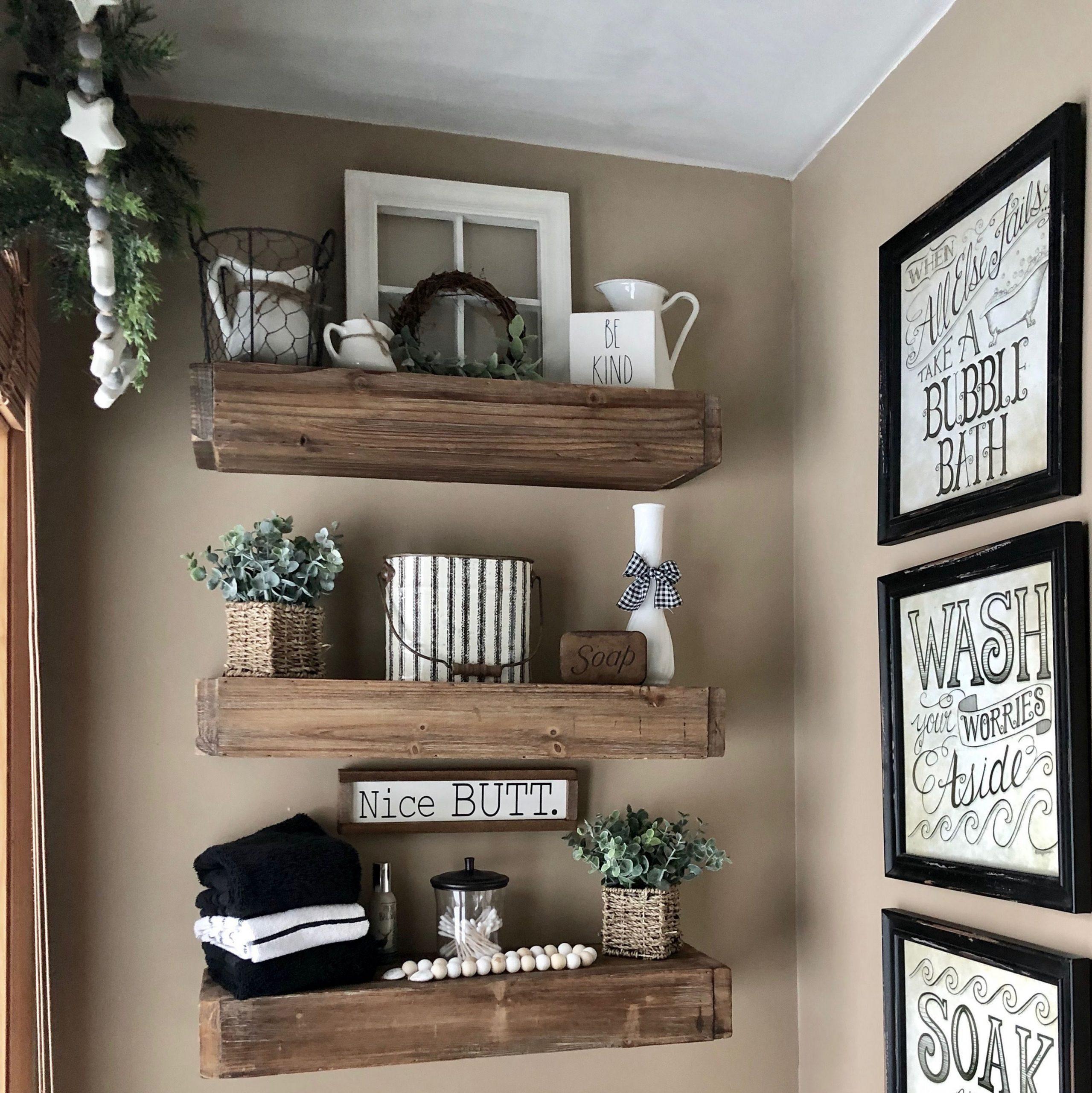 small bathroom floating shelves